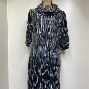 New Directions Cowl Neck 3/4 Length Knit Dress M
